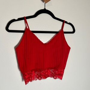 Guess Ribbed Cami Lace Cropped Top Red V Neck
